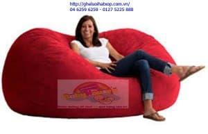Ghế lười hạt xốp oval size XL màu đỏ