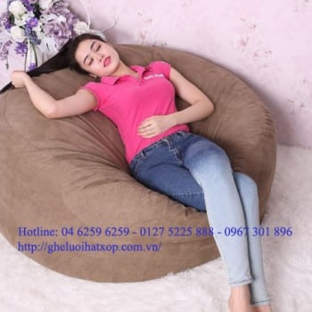 Ghế lười hạt xốp hình tròn size L màu nâu