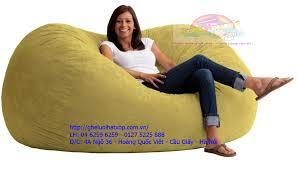 Ghế lười htaj xốp hình oval size XL màu vàng