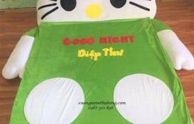 Nệm thú bông Hello Kitty màu xanh NTB010 (1)