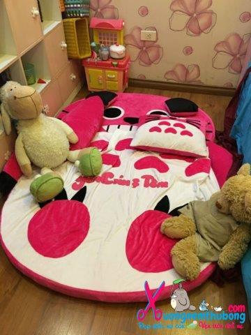 Đệm hình thú Babykid Totoro Hồng ruột cao su size 1m6 NTB090 (5)