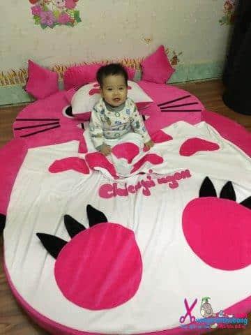 Đệm hình thú Babykid Totoro Hồng ruột cao su size 1m6 NTB090 (7)